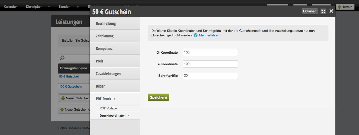 Gutscheine – PDF-Vorlage für einzelnen Gutschein erstellen | Handbuch